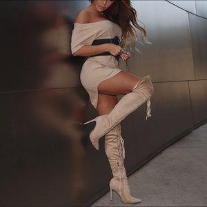 Nude thigh high MissLola heels size 8